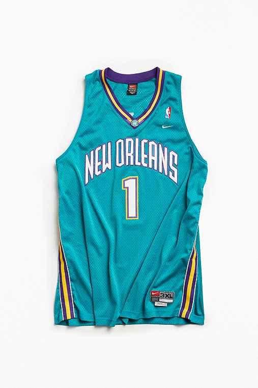 Vintage NBA New Orleans Hornets Baron Davis Basketball Jersey,TURQUOISE,XXXL