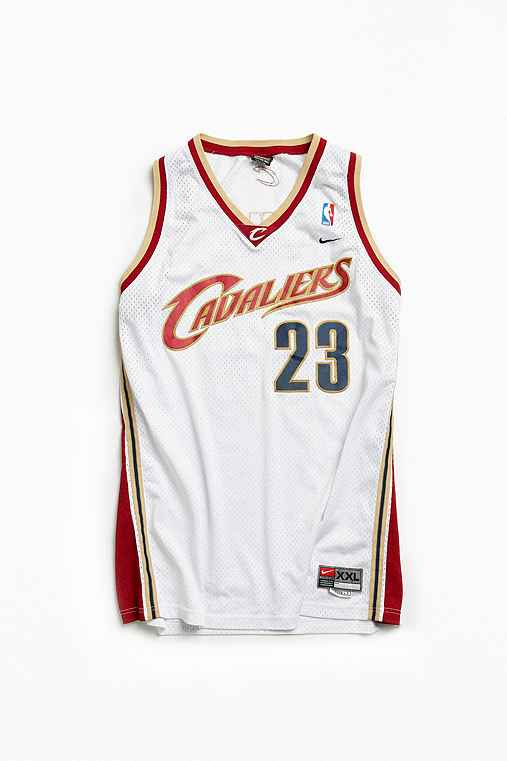 Vintage NBA Cleveland Cavaliers LeBron James Basketball Jersey,WHITE,XXL