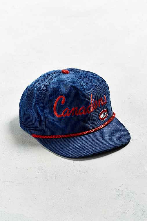 Vintage Montreal Canadiens Corduroy Snapback Hat,BLUE,ONE SIZE