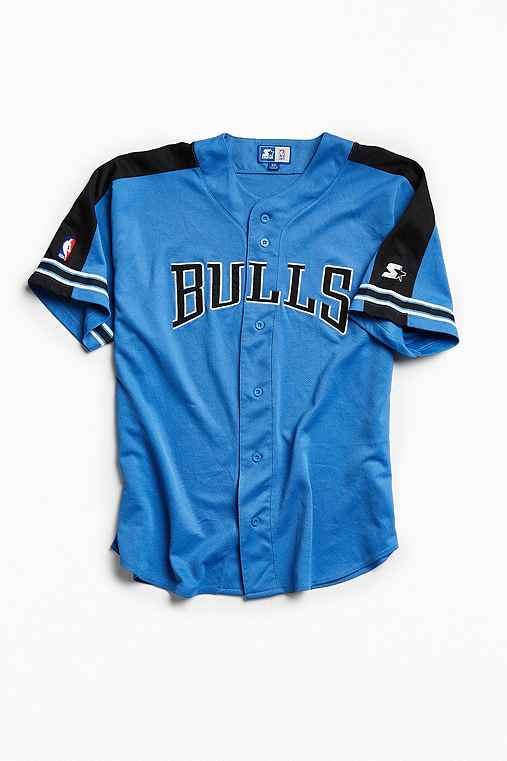 Vintage NBA Chicago Bulls Baseball Jersey,BLUE,XXXL