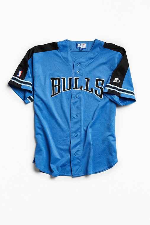Vintage NBA Chicago Bulls Baseball Jersey,BLUE,XXXL
