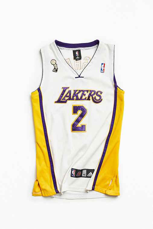 Vintage NBA Los Angeles Lakers Derek Fisher Basketball Jersey,WHITE,XL