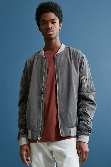 UO Tencel Ruched Sleeve Bomber Jacket