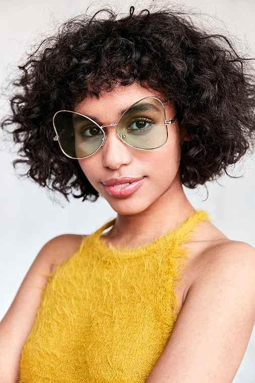 Slim Butterfly Sunglasses,GREEN,ONE SIZE
