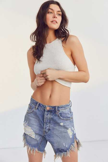 One Teaspoon Frankie Mid-Rise Distressed Denim Short