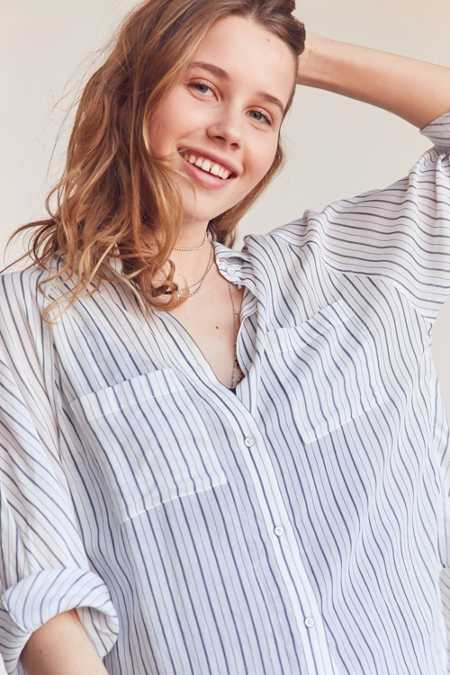 Silence + Noise Charlie Striped Button-Down Shirt
