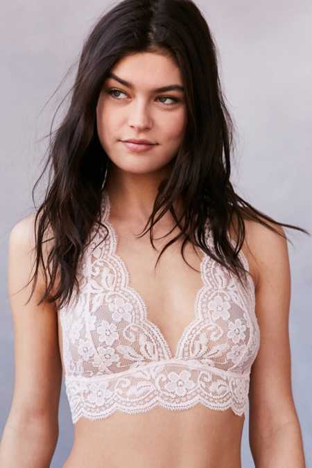 Out From Under Sheer Lace Halter Bra