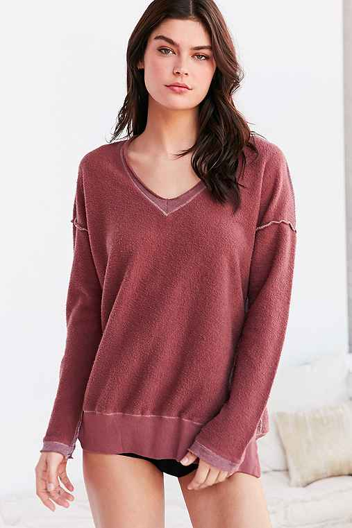 Truly Madly Deeply V-Neck Pullover Sweatshirt,MAROON,S
