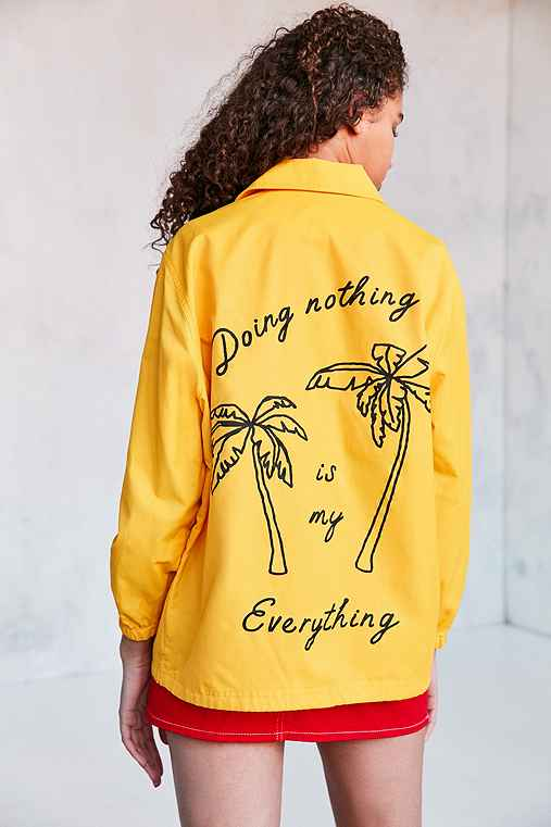 BDG Ott Street Palm Tree Coach Jacket,YELLOW,XS