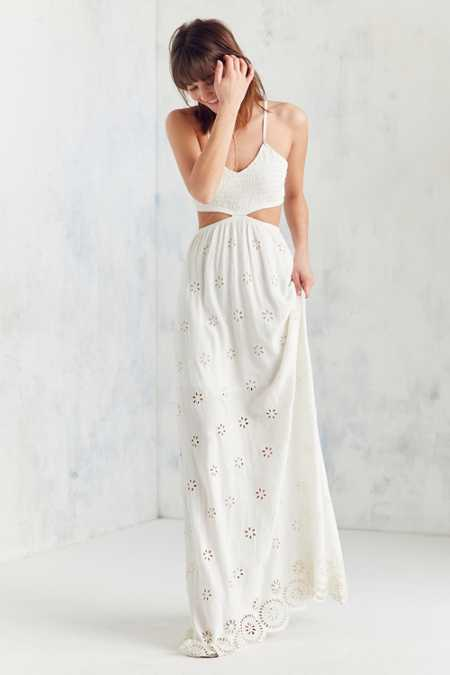 Winston White Eyelet Cutout Maxi Dress
