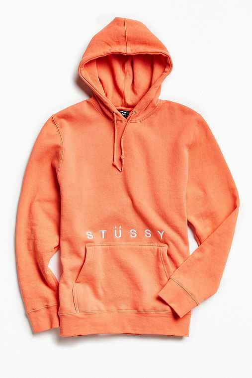 Stussy Classic Embroidery Hoodie Sweatshirt,CORAL,S