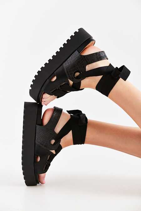 Ribbon Lace-Up Platform Sandal