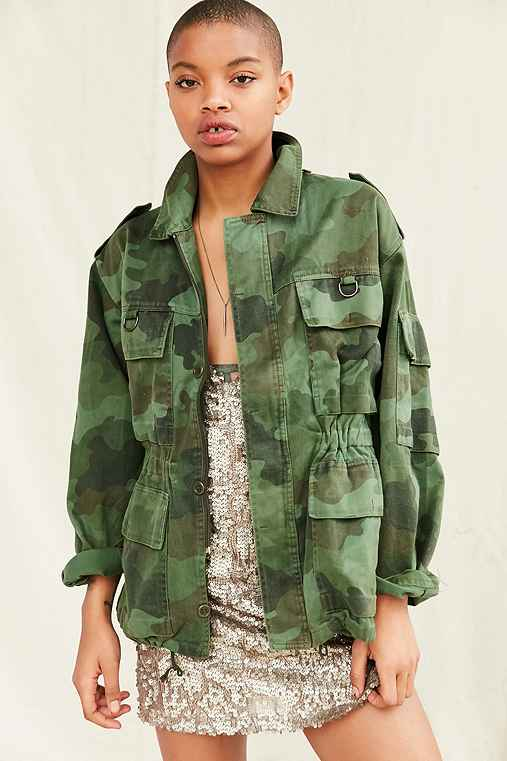 Vintage Camo Military Jacket,GREEN,M/L