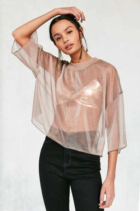 Without Walls Bryn Iridescent Mesh Cropped Tee