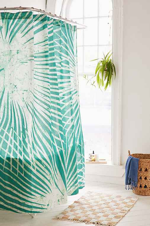Batik Palm Print Shower Curtain,GREEN,ONE SIZE