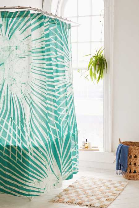 Batik Palm Print Shower Curtain