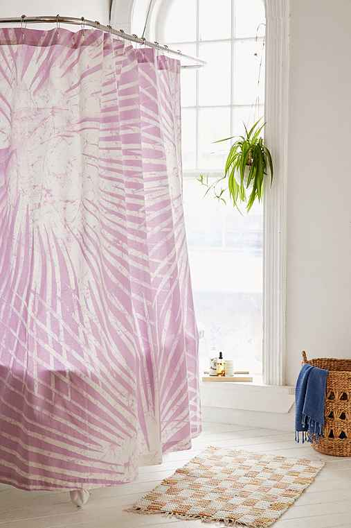 Batik Palm Print Shower Curtain,PURPLE,ONE SIZE