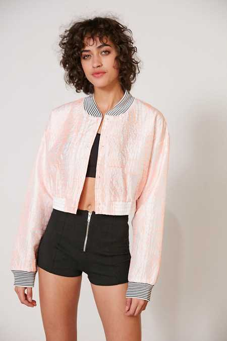 Without Walls Katey Embroidered Parachute Cropped Bomber Jacket