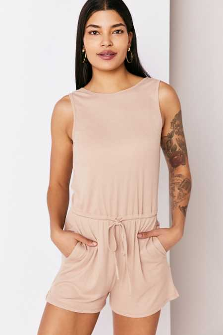 Silence + Noise Rib Knit Plunge-Back Romper