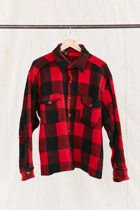 Vintage Red Plaid Heavy Coat