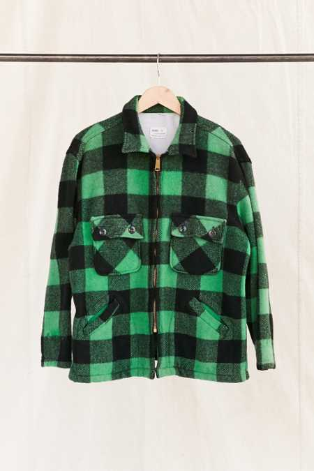Vintage Green Plaid Heavy Coat