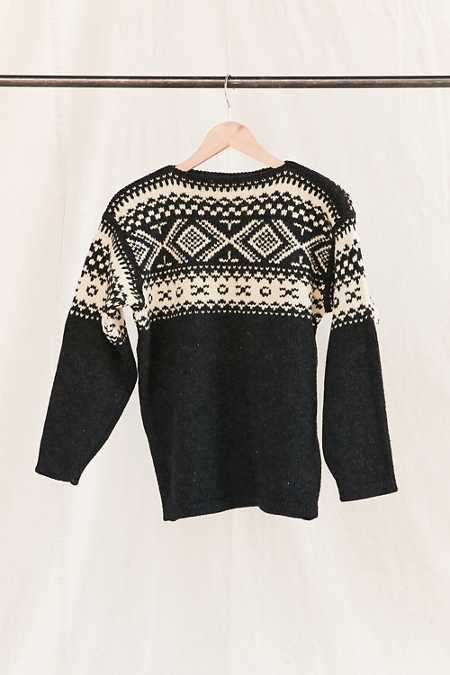 Vintage Nordic Charcoal Sweater