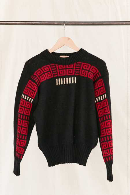 Vintage Geo Black/Red Sweater