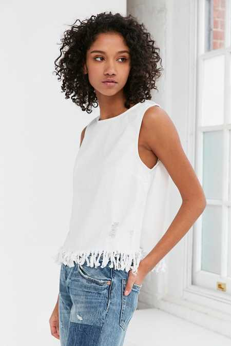 Silence + Noise Distressed Denim Fringe Tank Top