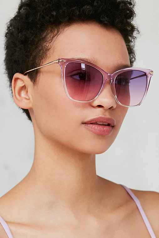 Crystal Gradient Cat-Eye Sunglasses,PURPLE,ONE SIZE