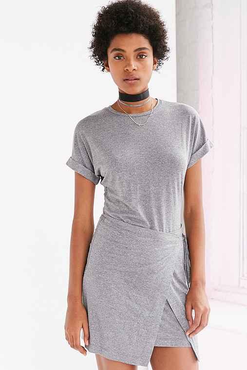 Silence + Noise Wrap T-Shirt Dress,GREY,L