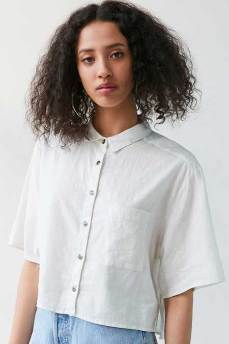 Silence + Noise Cropped Button-Down Blouse