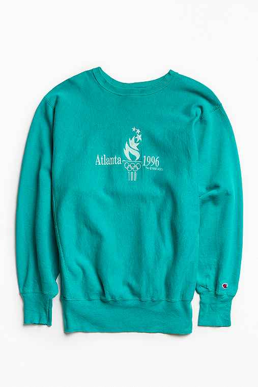 Vintage Champion Atlanta '96 Olympics Crew Neck Sweatshirt,TEAL,XL