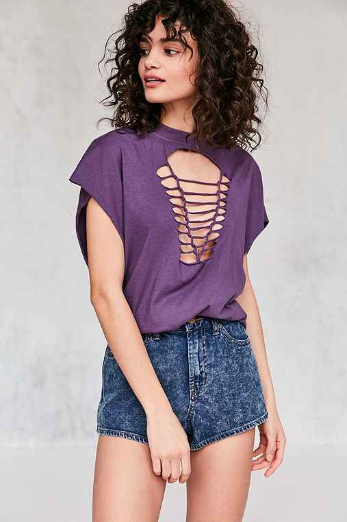 Truly Madly Deeply Macrame Tee,PURPLE,XS
