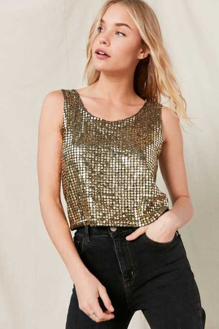 Vintage Gold Sequin Tank Top