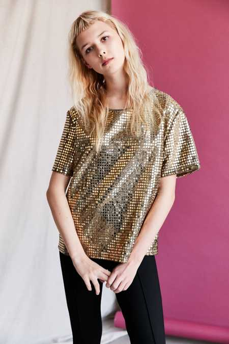 Vintage Gold Sequin Short-Sleeved Top