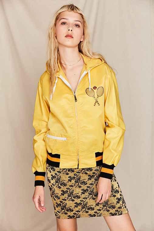 Vintage Yellow Tennis Racket Zip-Up Jacket,ASSORTED,ONE SIZE