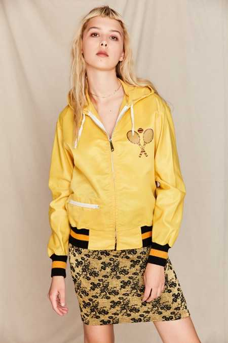Vintage Yellow Tennis Racket Zip-Up Jacket