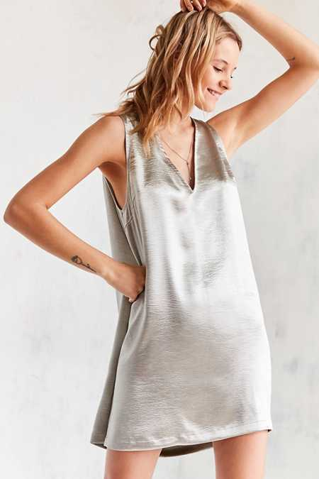 Silence + Noise Deep V Silky Shine Shift Dress
