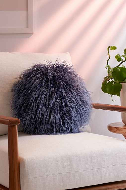Willow Faux Fur Round Pillow,BLUE,ONE SIZE
