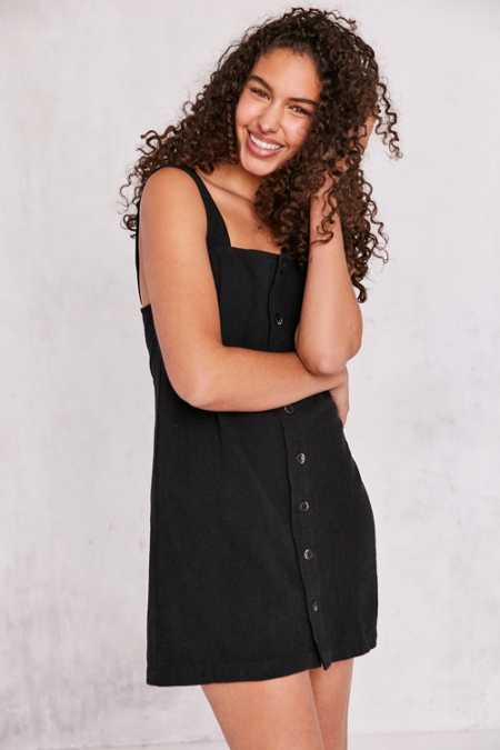 Cooperative Straight Neck Button-Front Mini Dress