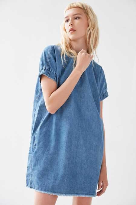 BDG Elastic-Sleeve Denim Mini Dress