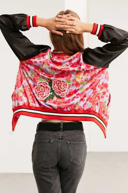 Silence + Noise Arielle Silky Embroidered Bomber Jacket