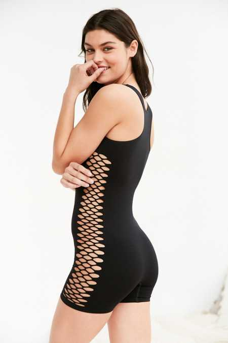 Out From Under Seamless Fishnet Romper
