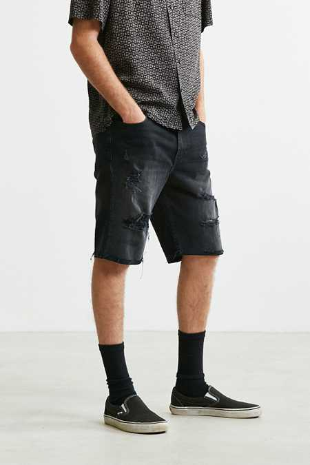 BDG Destructed Washed Black Denim Short