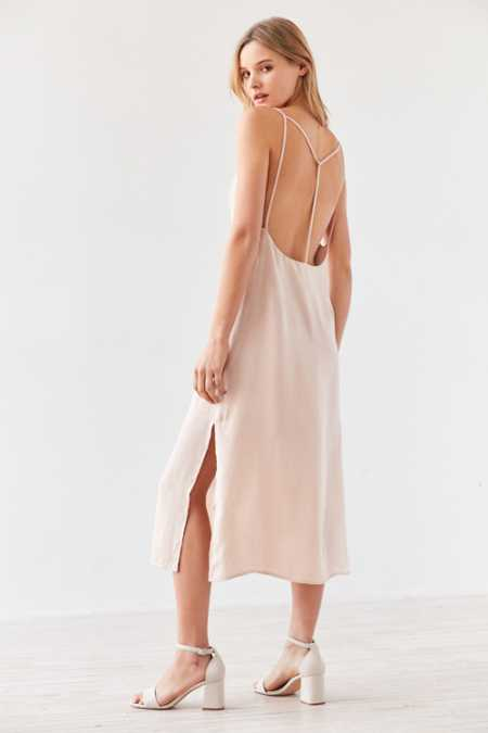 Silence + Noise Strappy Back Shine Midi Slip Dress
