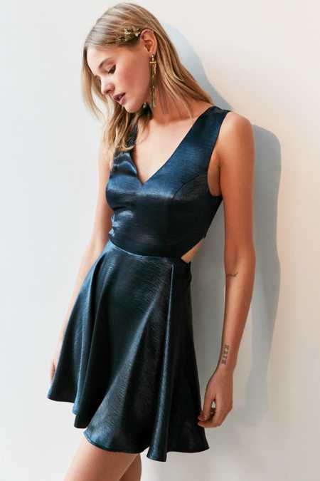 Silence + Noise Satin Shine Cutout Dress