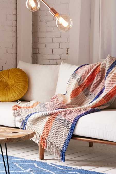 Plaid Waffle Knit Throw Blanket