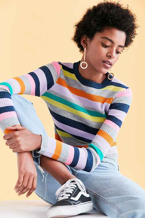 Silence + Noise Rainbow Stripe Crew-Neck Sweater,MULTI,XS