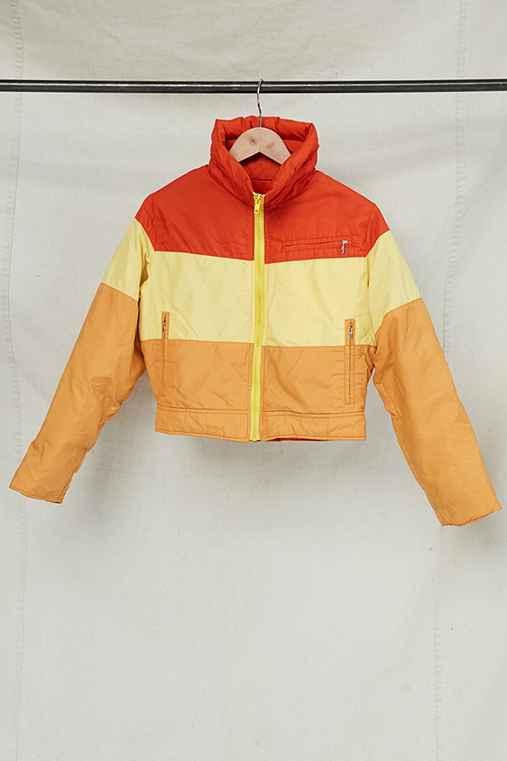 Vintage Orange Puffer Jacket,ASSORTED,ONE SIZE