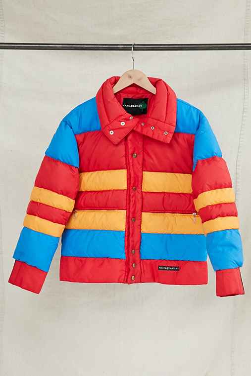 Vintage Aspen Color Block Puffer Jacket,ASSORTED,ONE SIZE